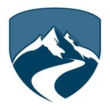 Shield mountain badge concept design. Symbol graphic template element vector. Shield mountain badge concept design. Symbol graphic template element blue banner stock illustration