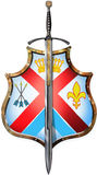 Shield with one sword front. Illustration Royalty Free Stock Photos