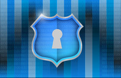 Shield over a binary background illustration Stock Photography