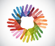 Shield over a color hands diversity concept Royalty Free Stock Photos