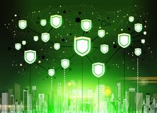 Shield over green cityscape Data protection privacy concept GDPR Cyber security network background. shielding personal. Information. internet technology Stock Image