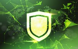 Shield over green Data protection privacy concept GDPR Cyber security network background. shielding personal information. Internet technology networking Stock Image
