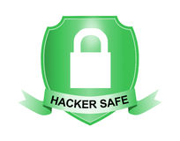 Shield with padlock. Vector art of a Shield with padlock hacker safe Stock Images