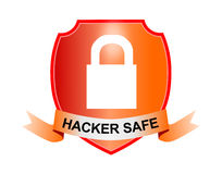 Shield with padlock. Vector art of a Shield with padlock hacker safe Stock Image