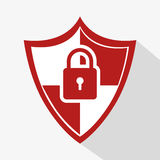 Shield with padlock icon Royalty Free Stock Photos