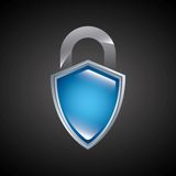 Shield and padlock  icon. Security system design. Vector graphic Stock Images