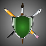 Shield with a pencil, art pen and brush. Heraldry for learning and creativity. Vector Image. Shield with a pencil, art pen and brush. Heraldry for learning and Royalty Free Stock Photos