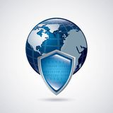 Shield and planet icon. Security system design. Vector graphic Stock Photo