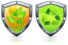 Shield with plant. Shield security icons with grass and plant on white, vector illustration for environment Royalty Free Stock Photography