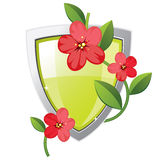 Shield with plant Royalty Free Stock Image