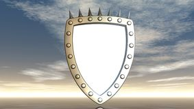 Shield with prickles. Blank shield with prickles under cloudy blue sky - 3d illustration Royalty Free Stock Images