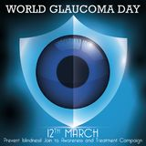 Shield Promoting Protection to Eye Against Blindness in Glaucoma Day, Vector Illustration. Commemorative design for World Glaucoma Day with a glowing shield Stock Images