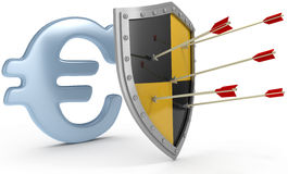 Shield protect safe Euro money security. Security shield protects money European Euro currency financial security royalty free illustration