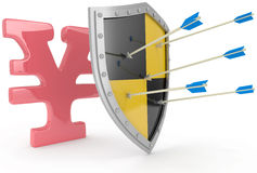 Shield protect safe Japanese yen. Security shield protects money, Japanese yen financial security vector illustration