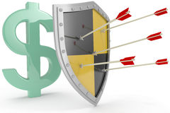 Shield protect safe US dollar money security. Security shield protects money American dollar currency financial security stock illustration