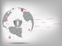 Shield protect world global network on binary code white background. Cyber Security Concept : Shield protect world global network on binary code white Royalty Free Stock Image