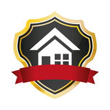 Shield protected home security red banner. Illustration eps 10 Royalty Free Stock Photo
