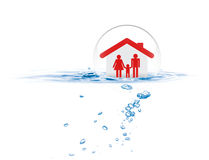 Shield protecting family from flood. Life insurance concept Royalty Free Stock Image