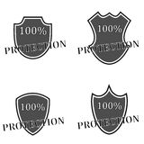 Shield protection black Stock Photos
