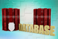 Shield protection on database Illustration Stock Photos