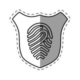 Shield protection fingerprint secure system line shadow Stock Photo
