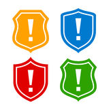 Shield protection icon. Shields protection icons set on white background Royalty Free Stock Images
