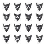 Shield and protection icons set Stock Images