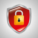 shield protection padlock secure system data Stock Photography