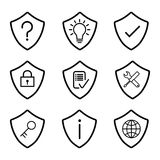 Shield Protection Security Icon Set-Vector Iconic Design Stock Photos