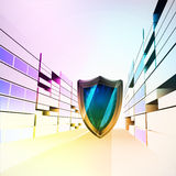 Shield protector in colorful city street  Royalty Free Stock Image