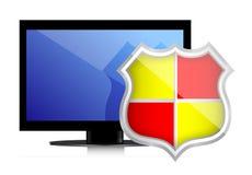 Shield protects Computer Monitor Royalty Free Stock Photo