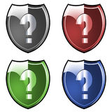 Shield question marks Stock Photo