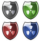 Shield with radioactive symbol Stock Image
