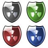 Shield with radioactive symbol Stock Image