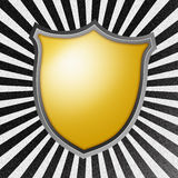 Shield on Rays Background Stock Photography