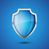 Shield. Realistic Vector Shield, glossy glass on blue background Stock Photography