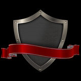Shield and red banner. Stock Photos