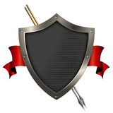 Shield and red banner. Royalty Free Stock Images