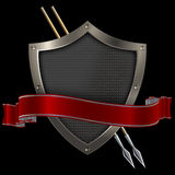 Shield and red banner. Stock Photo