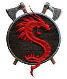 Shield with a red dragon Royalty Free Stock Photo