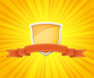 Shield with red ribbon for message Royalty Free Stock Image