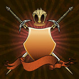 The Shield in red. The shield with two swords, helmet and banner against dark red background with grunge pattern drawn in classic style Stock Photo