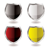 Shield reflection. Collection of four shields with silver bevel and light reflection Stock Photos