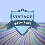 Shield retro vintage label on sunrays background Royalty Free Stock Photography