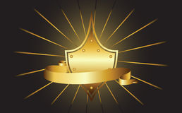 Shield and ribbon. Illustration for design Stock Photography