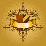 Shield with ribbon. This illustration can be used for your design Royalty Free Stock Photography