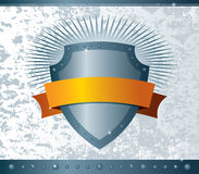 Shield with ribbon. Vector illustration of a shield with ribbon on grunge background Stock Photo