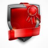 Shield with ribbon & award Stock Photos