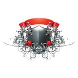 Shield, ribbon and decor Stock Photos