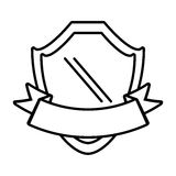 shield with ribbon emblem outline empty Royalty Free Stock Images